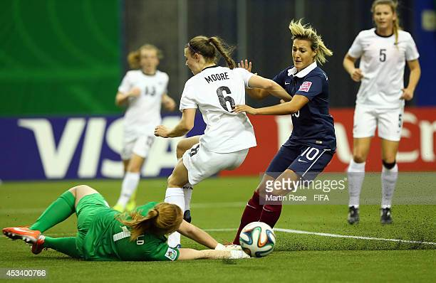 Claire Lavogez 10 of France fails to score over Lily Alfeld goalkeeper of New Zealand during the FIFA U20 Women's World Cup 2014 group D match...