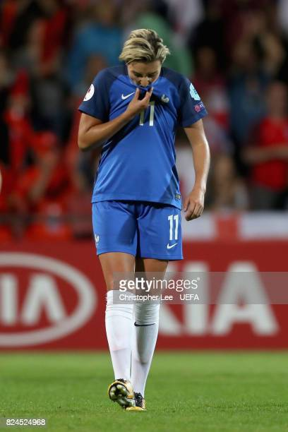 Claire Lavogez of France is dejected after the UEFA Women's Euro 2017 Quarter Final match between France and England at Stadion De Adelaarshorst on...