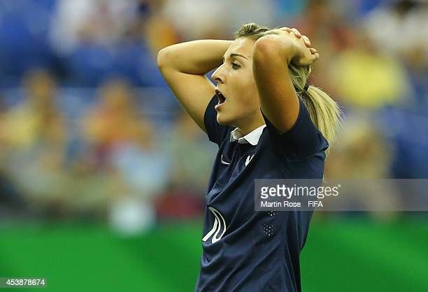Claire Lavogez of France reacts after she fails to score during the FIFA U20 Women's World Cup 2014 semi final match between Germany and France at...
