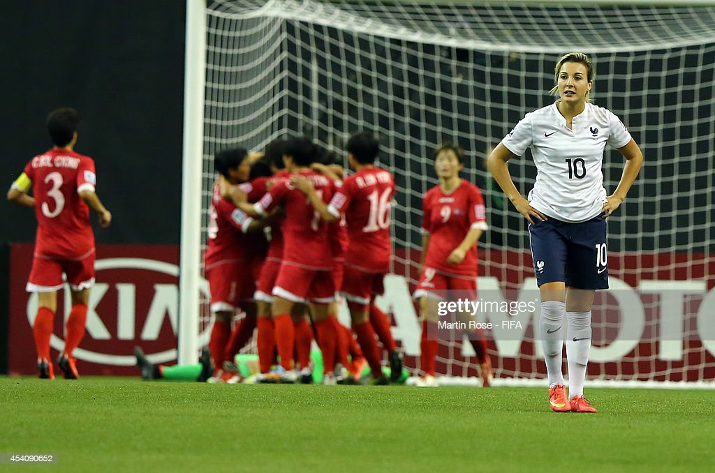 Claire Lavogez of France reacts during the FIFA U-20 Women's World Cup 2014 3rd place playoff match between Korea DPR and France at Olympic Stadium on August 24, 2014 in Montreal, Canada.