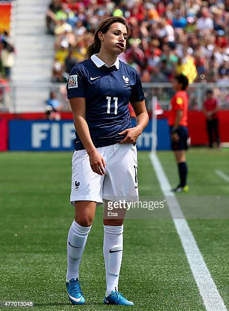 Claire Lavogez of France reacts in the second half against Colombia during the FIFA Women's World Cup 2015 Group F match at Moncton Stadium on June...