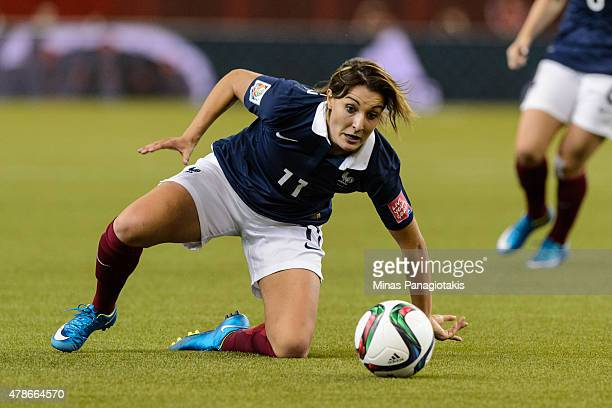 Claire Lavogez of France watches the ball during the 2015 FIFA Women's World Cup quarter final match against Germany at Olympic Stadium on June 26...