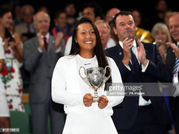 Claire Liu celebrates winning the girls singles final against Ann Li on day twelve of the Wimbledon Championships at The All England Lawn Tennis and...