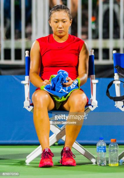 Claire Liu collects her thoughts after finishing up a set during the WTA Tour Bank of the West Classic match on July 31 2017 at Taube Family Tennis...