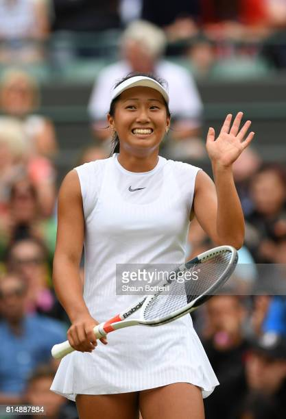 Claire Liu of the United States celebrates victory after the Girl's Singles final match against Ann Li of the United States on day twelve of the...
