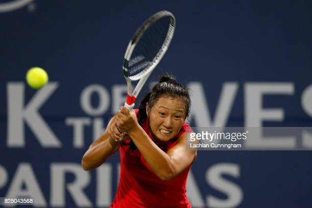 Claire Liu of the United States competes against Nicole Gibbs of the United States during day 1 of the Bank of the West Classic at Stanford...