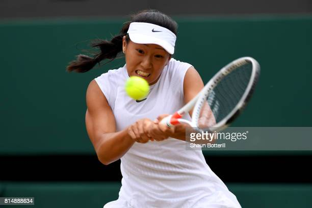 Claire Liu of the United States plays a backhand during the Girl's Singles final match against Ann Li of the United States on day twelve of the...