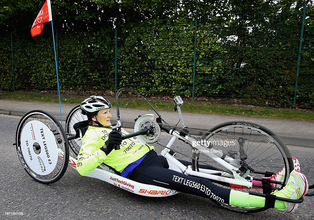 Claire Lomas in action on her first day of her twenty two day challenge on April 22, 2013 in Nottingham, England. Claire Lomas is set to hand-cycle 400 miles over three weeks from Nottingham to London to raise money for Spinal research and the Nicholls Foundation through her JustTextGiving by Vodafone code LEGS60. Anyone wishing to donate can text LEGS60 £3 to 70070.