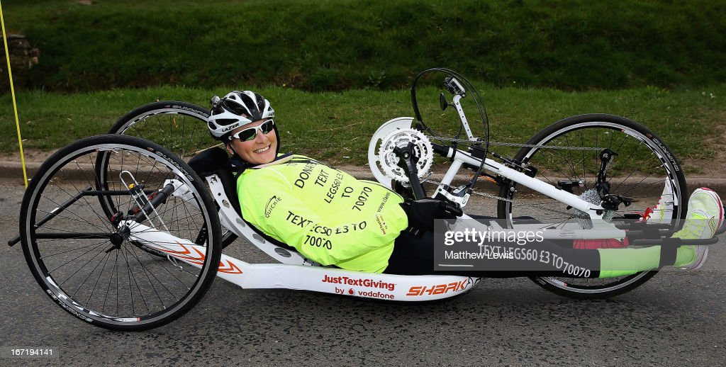 Claire Lomas is seen in action on day one of her twenty two day challenge on April 22, 2013 in Nottingham, England. Claire Lomas is set to hand-cycle 400 miles over three weeks from Nottingham to London to raise money for Spinal research and the Nicholls Foundation through her JustTextGiving by Vodafone code LEGS60. Anyone wishing to donate can text LEGS60 £3 to 70070.