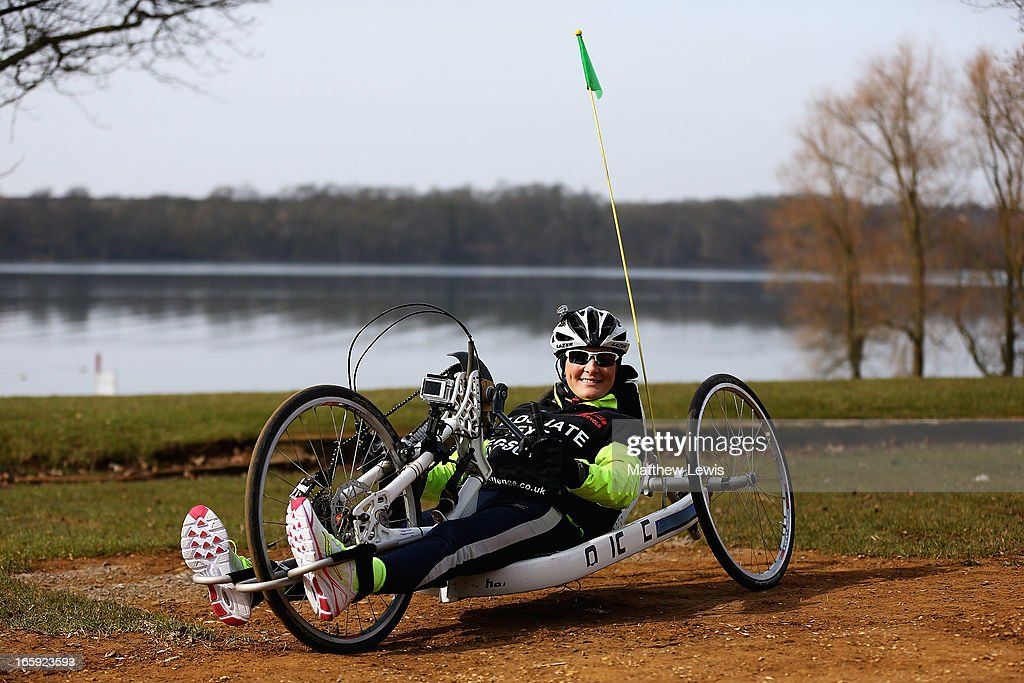Claire Lomas participates in a training run at Whitwell Leisure Park on April 7 2013 in Leicester England Claire Lomas will complete the equivalent...