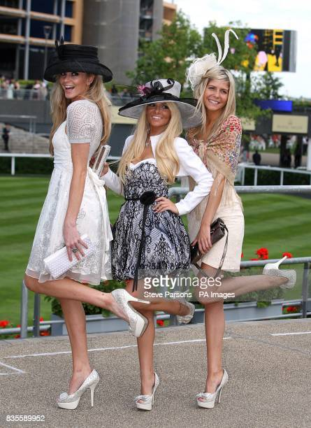 Claire McCarthy Kristen Gorlano and Dianne Stevens show off their fashion choices at Ascot Racecourse Berkshire