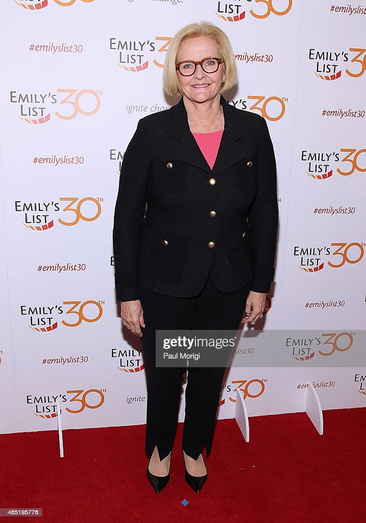 Claire McCaskill attends the EMILY's List 30th Anniversary Gala at Hilton Washington Hotel on March 3 2015 in Washington DC