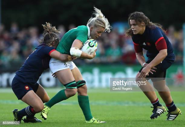 Claire Molloy of Ireland is tackled during the Women's Rugby World Cup Pool C match between France and Ireland at UCD Bowl on August 17 2017 in...