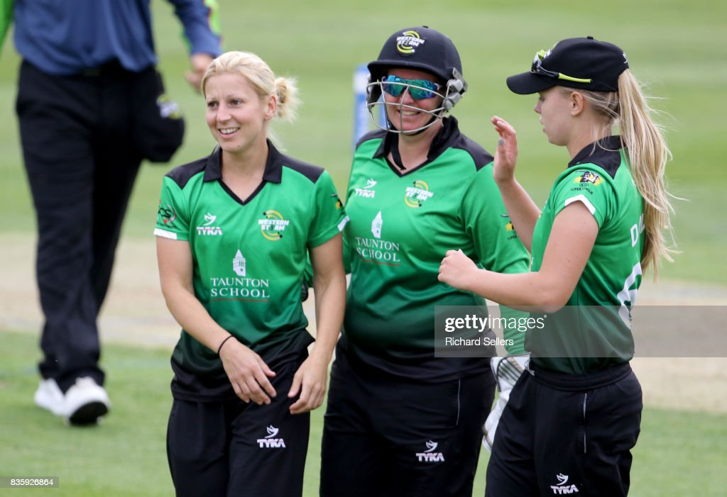 Claire Nicholas, Freya Davies and Rachel Priest celebrate during the Kia Super League between Yorkshire Diamonds v Western Storm at York on August 20, 2017 in York, England.