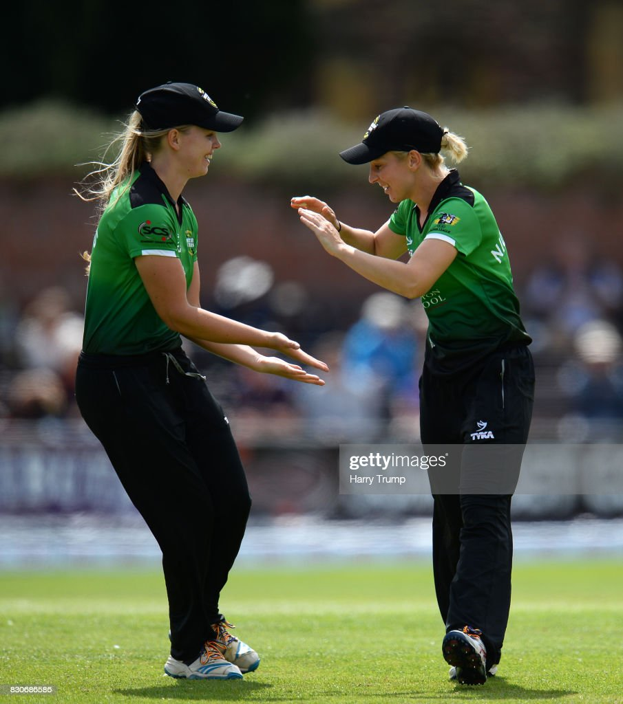 Claire Nicholas of Western Storm(R) celebrates after running out Lucy Higham of Loughborough Lightning during the Kia Super League 2017 match between Western Storm and Loughborough Lightning at The Cooper Associates County Ground on August 12, 2017 in Taunton, England.