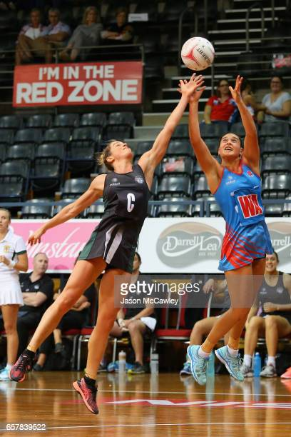 Claire O'Brien of the Waratahs and Shae Brown of the Magpies compete for the ball during the round six ANL match between the Netball NSW Waratahs and...
