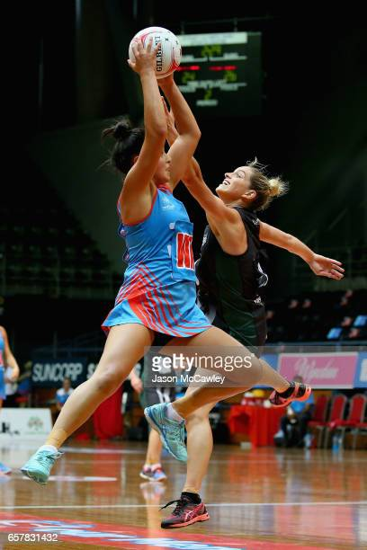 Claire O'Brien of the Waratahs catches the ball during the round six ANL match between the Netball NSW Waratahs and the Tasmanian Magpies at Sydney...