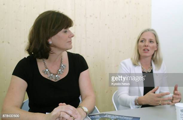Claire Perry British minister of state for climate change and industry and Catherine McKenna Canadian minister of environment and climate change hold...