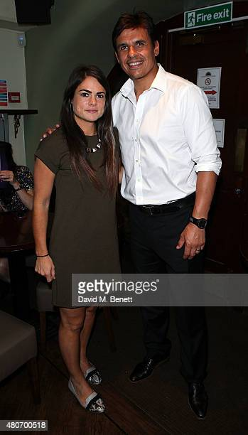Claire Rafferty and Chris Coleman attend the gala night performance of 'Dusty' at the Charing Cross Theatre on July 14 2015 in London England