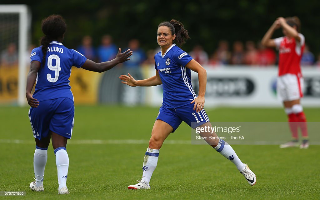 Claire Rafferty and Eniola Aluko of Chelsea Ladies celebrate after Alex Scott of Arsenal Ladies passes the ball back to score an own goal during the...