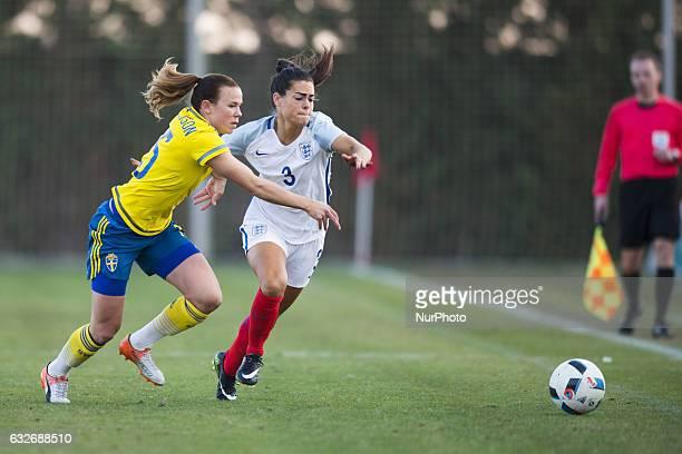 Claire Rafferty Jessica Samuelsson during the preseason friendly match between national women's Sweden vs England in Pinatar Arena San Pedro del...