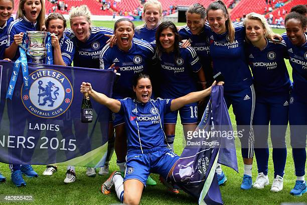 Claire Rafferty of Chelsea celebrates with team mates after their victory during the Women's FA Cup Final match between Chelsea Ladies FC and Notts...
