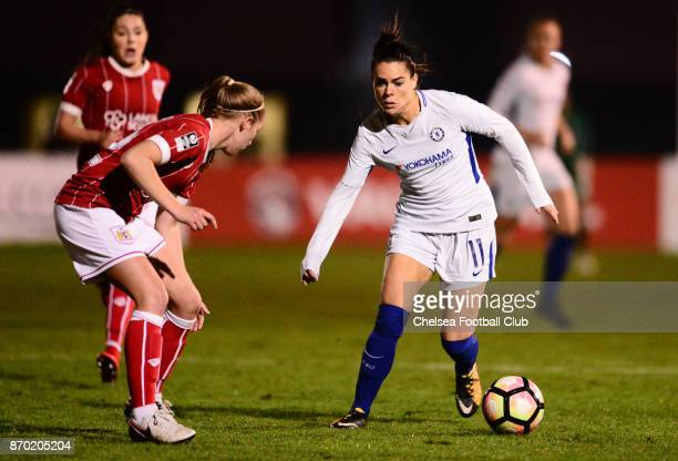 Claire Rafferty of Chelsea during a Continental Tyres Cup match between Bristol City Women and Chelsea Ladies at on November 4 2017 in Bristol England