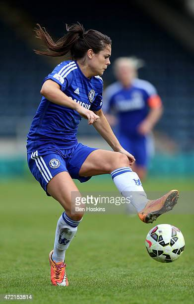 Claire Rafferty of Chelsea in action during the Women's FA Cup Semi Final match between Chelsea Ladies and Manchester City Women at Adams Park on May...