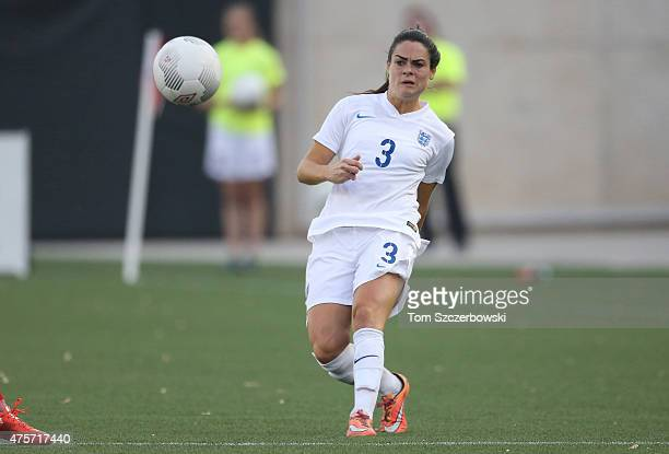 Claire Rafferty of England advances the ball against Canada during their Women's International Friendly match on May 29 2015 at Tim Hortons Field in...