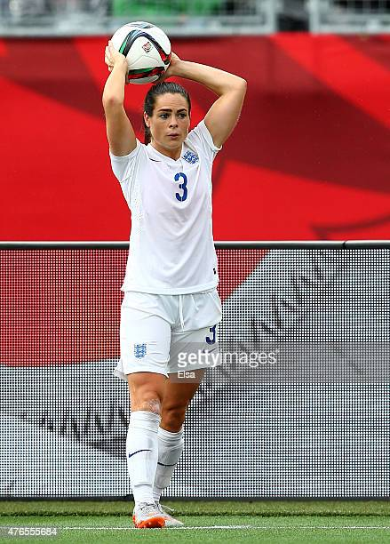 Claire Rafferty of England sends the ball in during the first half against France during the FIFA Women's World Cup 2015 Group F match at Moncton...