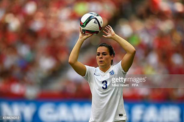 Claire Rafferty of England takes a throw in during the FIFA Women's World Cup 2015 Quarter Final match between England and Canada at BC Place Stadium...