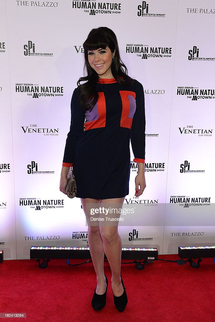 <a gi-track='captionPersonalityLinkClicked' href=/galleries/search?phrase=Claire+Sinclair&family=editorial&specificpeople=6960124 ng-click='$event.stopPropagation()'>Claire Sinclair</a> arrives at 'Smokey Robinson Presents Human Nature: The Motown Show' opening at The Venetian Resort Hotel Casino on February 22, 2013 in Las Vegas, Nevada.