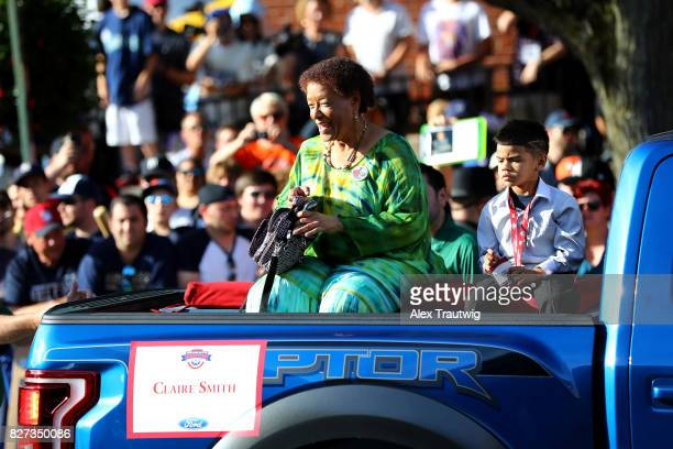 Claire Smith winner of the JG Taylor Spink Award arrives during the 2017 Hall of Fame Parade of Legends at the National Baseball Hall of Fame on...