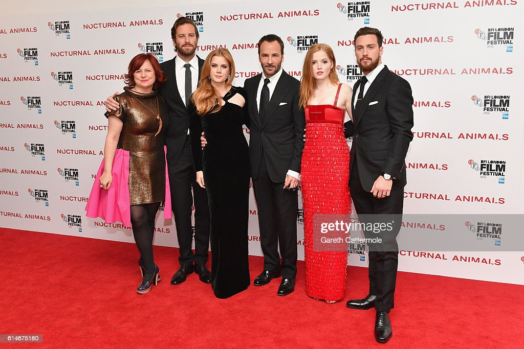 Claire Stewart, Armie Hammer, Amy Adams, Tom Ford, Ellie Bamber and Aaron Taylor-Johnson attend the 'Nocturnal Animals' Headline Gala screening during the 60th BFI London Film Festival at Odeon Leicester Square on October 14, 2016 in London, England.