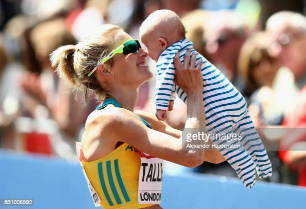Claire Tallent of Australia celebrates with son Harvey after the Women's 20km Race Walk final during day ten of the 16th IAAF World Athletics...
