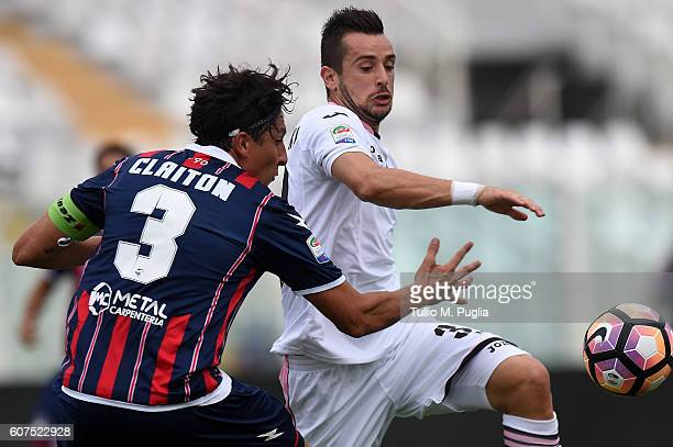Claiton Machado dos Santos of Crotone and Ilija Nestorovski of Palermo compete for the ball during the Serie A match between FC Crotone and US Citta...