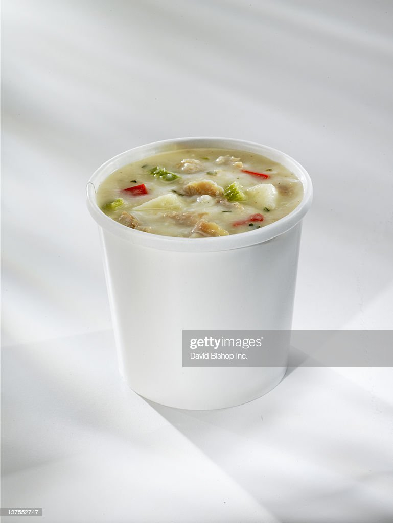 Clam Chowder in take out Cup
