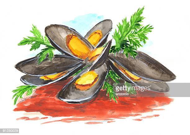Muschel Gericht Aquarell
