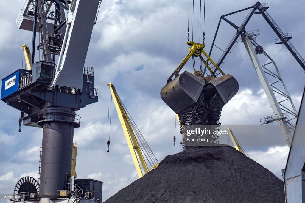 A clam shell crane bucket unloads the first shipment of anthracite coal from U.S. supplier XCoal Energy & Resources LLC, for state energy firm Centrenergo PJSC, onto the dockside at Yuzhny Port, near Odessa, Ukraine, on Wednesday, Sept. 13, 2017. A Pennsylvania company will send 700,000 tons of coal to Ukraine in a deal the administration of President Donald Trump heralded as an important tool to undercut the power Russia has over its European neighbors. Photographer: Vincent Mundy/Bloomberg via Getty Images