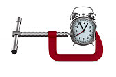 clamp and watch on white background. Isolated 3D illustration