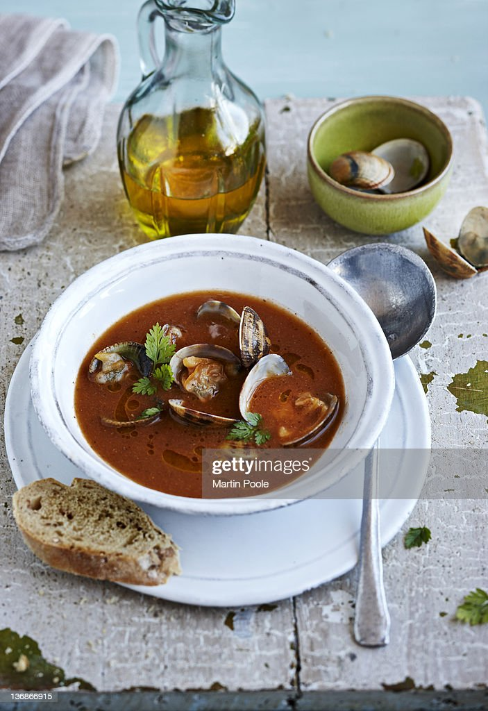 clams and seafood soup : Stock Photo