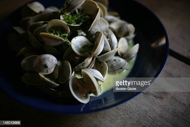 Clams grown by Pat Woodbury in Wellfleet were served as the second course during the One Long Table dinner hosted by the farm and The Blue Room...