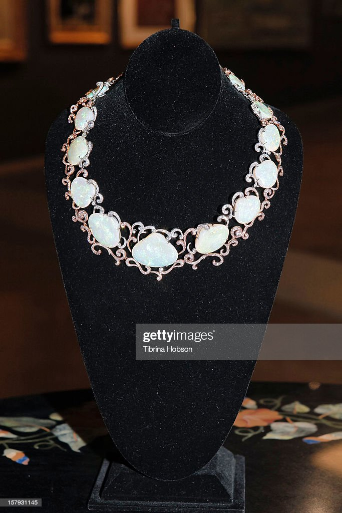 A clamshell crysal opal necklace on display at the at Bonhams auction media preview day at Bonhams & Butterfields on December 7, 2012 in Los Angeles, California.