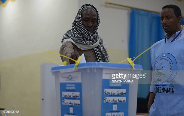 A clan elder casts his ballot on November 16 in Baidoa Somalia is in the process of selecting a new parliament upper house and president in a limited...