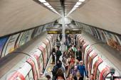 Clapham Common station on London Underground at rush hour England UK