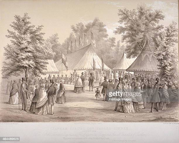 Clapham Special Constables' dinner Clapham London 1848 Scene showing figures outside marquees
