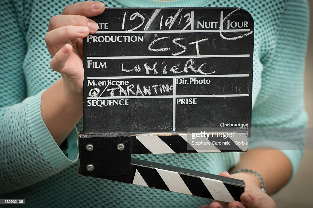 Clapperboard of the Remake of the 1st Movie of the Lumiere Brothers , during the 5th Lumiere Film Festival, in Lyon.