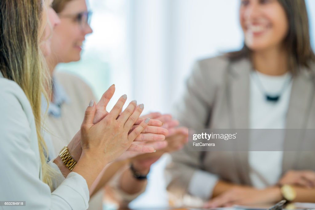Clapping After a Presentation : Stock Photo