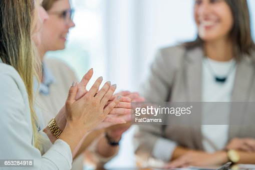 Clapping After a Presentation : Stock-Foto