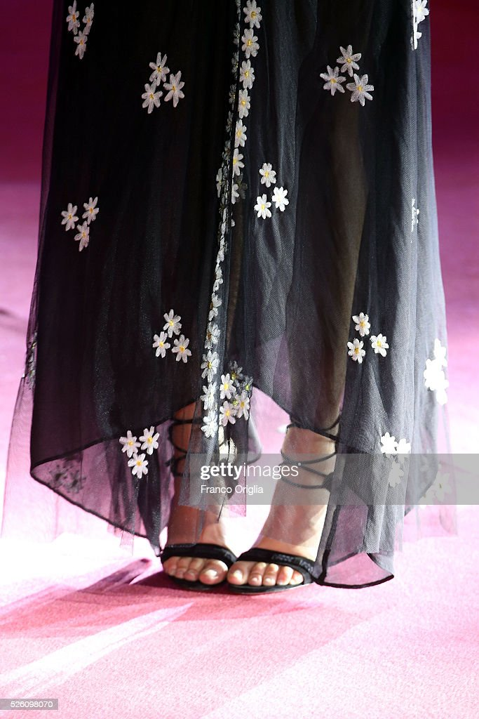 Clara Alonso, shoes detail, attends 'Tini - The New Life Of Violetta' Premiere In Rome on April 29, 2016 in Rome, Italy.